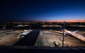 Picture Sunset, The sky, Lights, Sunrise, Night, The city, Airport, Japan, Boeing, Landscape, Boeing, Air, 300, …