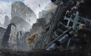 Wallpaper postapokalipsis, the wreckage, art, ruins, devastation, tree, the city, metro, the car