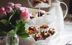Picture flowers, food, vase, cake, dessert, sweet