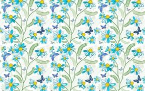 Picture butterfly, flowers, blue, pattern