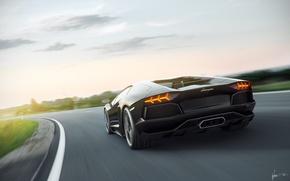 Picture speed, Lamborghini, blur, Lamborghini, black, black, Blik, Lamborghini, LP700-4, Aventador, Aventador, LB834