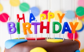 Wallpaper birthday, candles, colorful, cake, cake, Happy Birthday, candles, letters