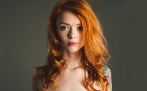 Picture Girl, Look, Model, Lips, Tattoo, Red, red head, Julie Kennedy, Lass, Suicide Girls