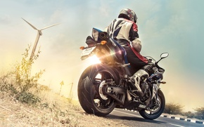 Picture summer, dawn, motorcycle, motorcyclist, yamaha