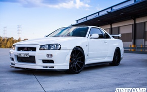 Picture nissan, turbo, white, skyline, japan, jdm, tuning, gtr, r34, nismo