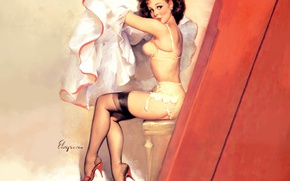 Picture linen, stockings, brunette, chair, art, pin-up, voyeurism, Gil Elvgren, Flirty, the fluffy skirt