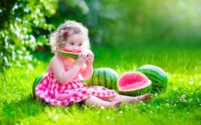 Wallpaper watermelon, child, dress, glade, child, summer, little girl, the sun, pretty, dress, girl, happy, watermelon, ...