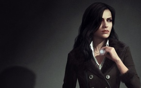 Picture girl, brunette, art, witch, The Witcher 3: Wild Hunt, witcher 3, Yennefer of Vengerberg, yennefer