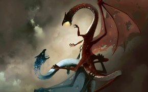 Picture the sky, dragon, fantasy, battle