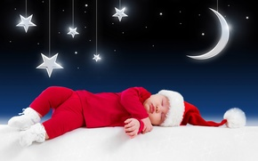 Picture merry christmas, children, little santa claus, fairy-tale night, funny sleeping baby, Costume, funny sleeping baby, ...