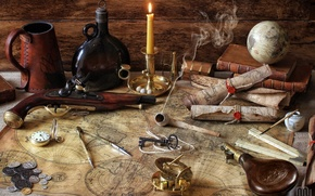 Wallpaper bottle, books, key, globe, tube, the compass, pistol, coins, card, compass, candle