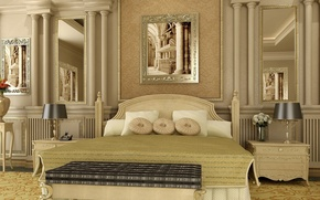 Picture flowers, design, reflection, room, bed, interior, picture, pillow, mirror, painting, beige