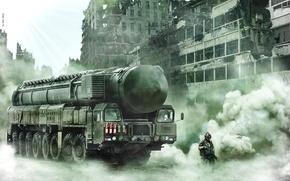 Wallpaper war, fiction, future, postapokalipsis, soldiers, Topol m