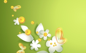 Wallpaper butterfly, flowers, green abstraction