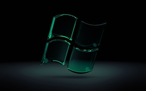 Wallpaper Glass, Glass, Microsoft, Black Windows 7, Green, Seven, Windows Seven