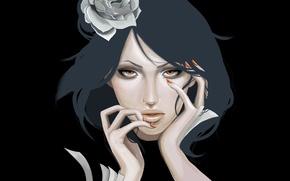Picture flower, girl, piercing, leaves, Naruto, Akatsuki, Konan