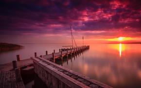 Picture nature, lake, dawn, Marina
