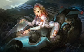 Picture girl, future, art, costume, motorcycle