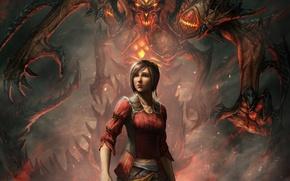 Picture girl, monster, art, diablo 3