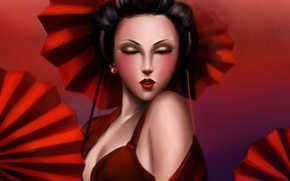 Picture girl, face, red, art, geisha, umbrellas, Lilyzou