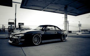 Picture black, Silvia, Nissan, black, Nissan, Sylvia, S14, the gas station