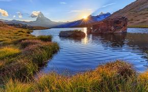 Picture sunset, mountains, lake, Switzerland, Switzerland, Zermatt, Zermatt, the Matterhorn, The Pennine Alps, Pennine Alps, Matterhorn …