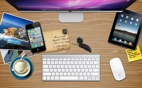 Picture iphone, Mac, ipad, apple summer desk