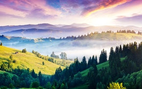 Picture mountains, fog, Ukraine, panorama, house, hills, the sun, Carpathians, forest
