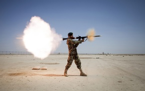 Picture weapons, rocket launcher, field, soldiers, RPG, the sky, the explosion