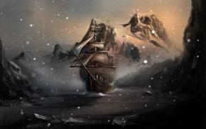 Picture water, snow, rocks, ship, art, skyrim, Winterhold