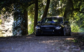 Picture Audi, black, front, wagon, stance, before
