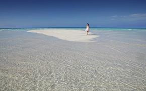 Picture sand, beach, water, girl, clouds, background, the ocean, widescreen, Wallpaper, wallpaper, girl, the Maldives, beach, …