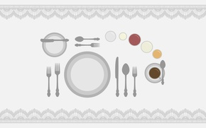 Picture table, plate, spoon, knife, Cup, plug, tablecloth