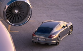 Wallpaper Turbo, the plane, asphalt, porche, Panamera, engine, 2011