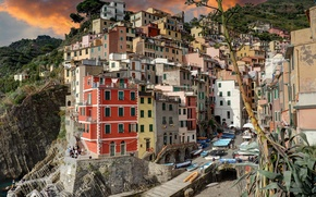 Wallpaper paint, Italy, home, Bay, sea, boats, Riomaggiore, Cinque Terre, landscape