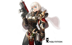Picture girl, weapons, art, white background, book, warhammer 40k, xil