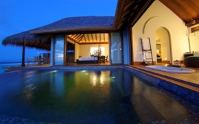 Picture pool, bathroom, Bungalow, terrace, living space
