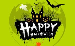 Wallpaper the inscription, bats, Ghost, Halloween, pumpkin, fence, trees, Helloween, blot, Church, happy halloween