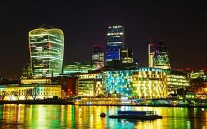 Picture night, lights, river, London, home, UK, promenade