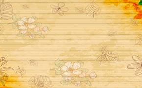 Picture strips, background, flowers, Leaves, lepecki