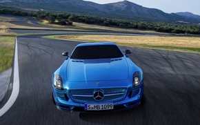 Picture Mercedes-Benz, Blue, AMG, SLS, The front