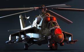 Picture art, OKB M. L. Mil, GSH-30K, Rostvertol, upgraded version, 30 mm, attack helicopter, export version, …