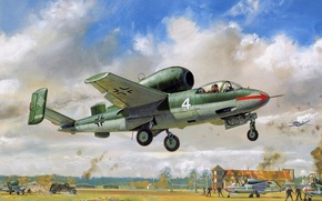 Picture German, jet, figure, He-162, People hunter, building, clouds, the airfield, war, the rise, single-engine, people, ...