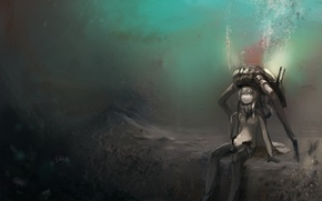 Picture girl, the ocean, anime, art, sitting, under water, kantai collection, either or FTW, wo-class