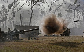 Picture soldiers, volley, artillery, howitzer, 155 mm, M777