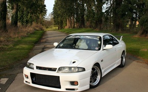 Picture Nissan, white, tuning, Skyline, R33