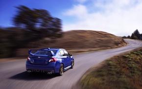 Picture Auto, Road, Blue, Subaru, Machine, Day, WRX, STI, Subaru, Rear view, In Motion