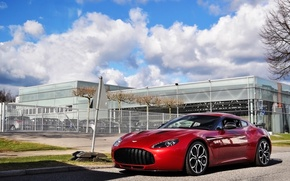 Picture red, aston martin, v12, zagato