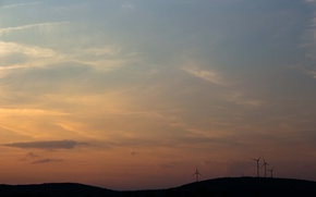 Picture morning, hill, sunrise, dawn, wind turbines, silhouettes