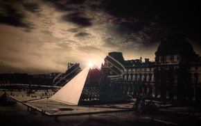 Picture the sky, line, The Louvre, pyramid